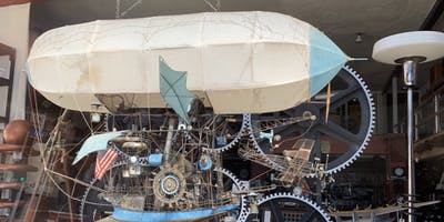 A steampunk airship in the window.