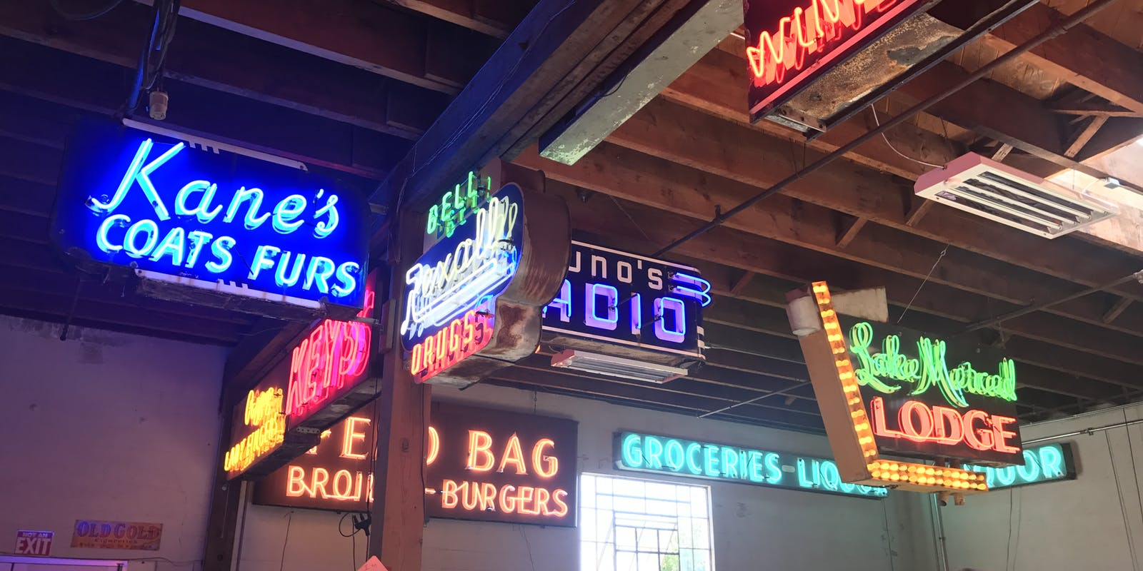 An impressive collection of neon signs.