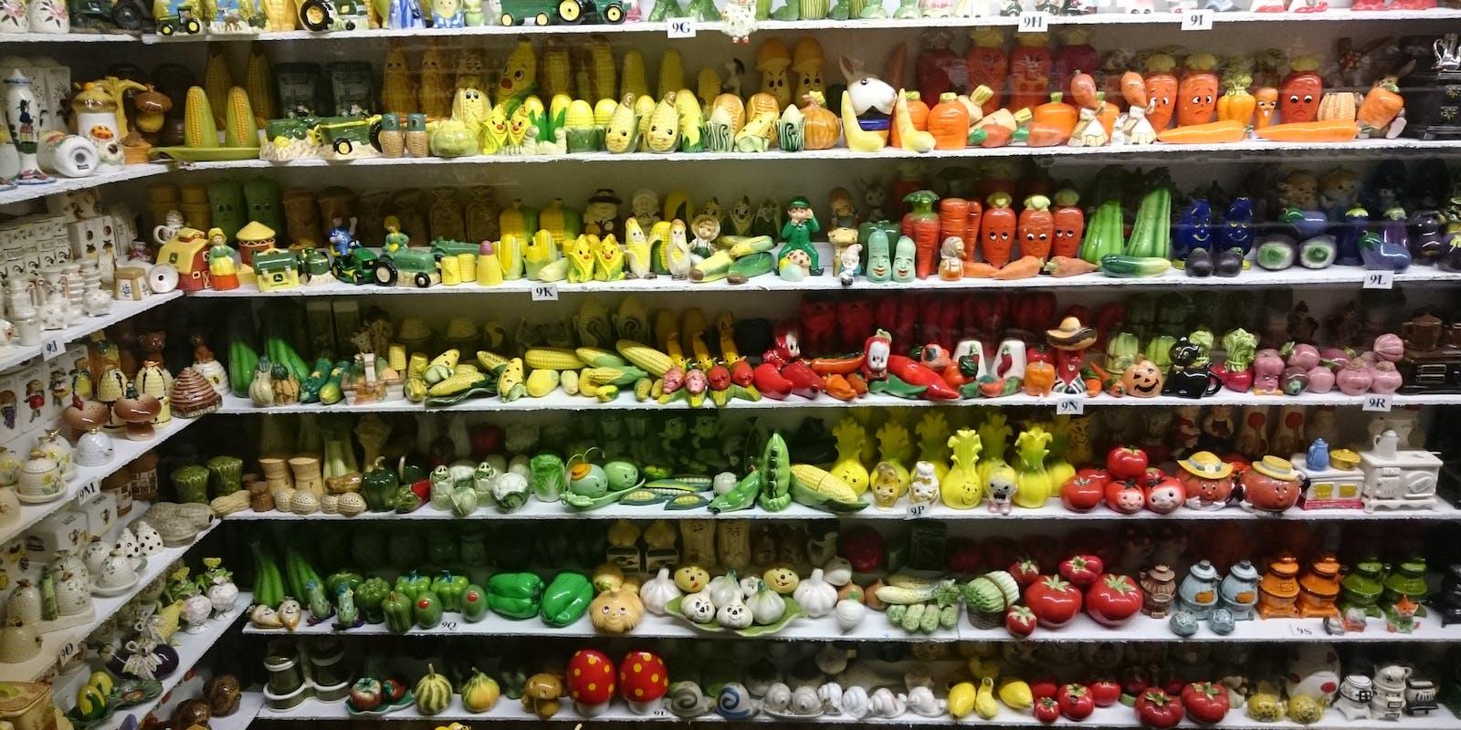 Shelves full of salt and pepper shakers