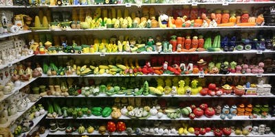 Shelves full of salt and pepper shakers