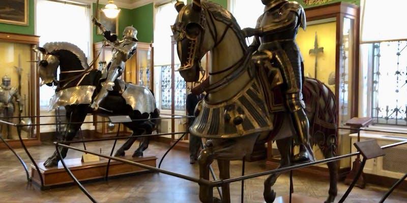 Shiny knights on horses.