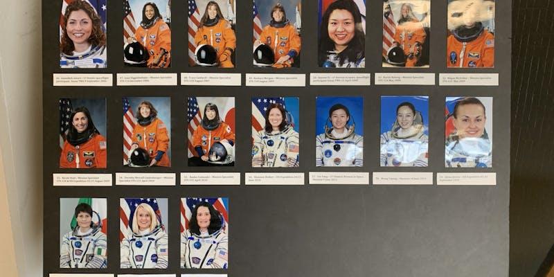 Photos of female astronauts.